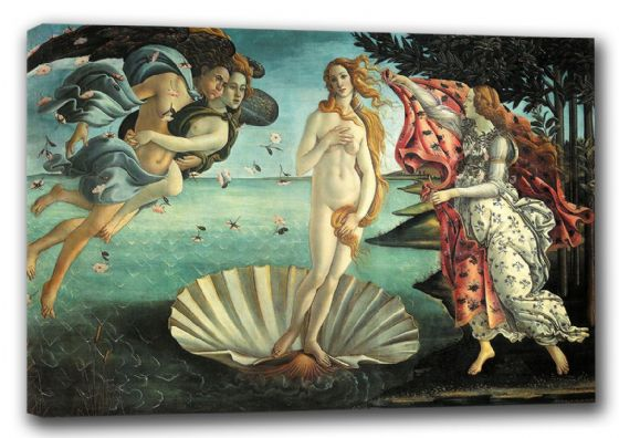 Botticelli, Sandro: The Birth of Venus. Fine Art Canvas. Sizes: A3/A2/A1 (00310)